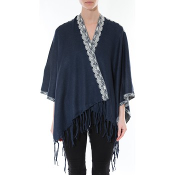 Vêtements Femme Pulls De Fil En Aiguille Poncho Senes  Marine YM 121 Bleu