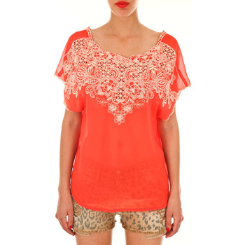 Vêtements Femme Tops / Blouses Champagne Et Strawberry Top Draped  Rouge Corail