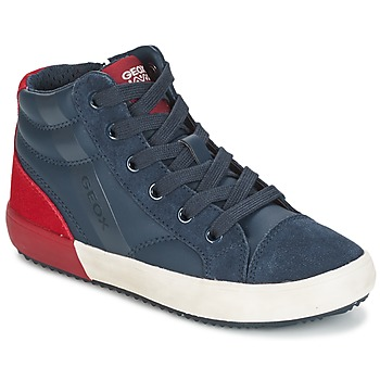 Chaussures Garçon Baskets montantes Geox J ALONISSO B. A Marine   Rouge bfcaba4ef63