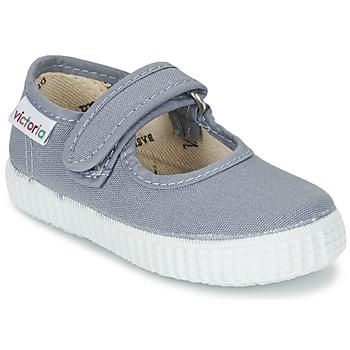 Chaussures Fille Ballerines / babies Victoria MERCEDES VELCRO LONA Gris