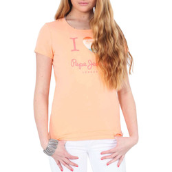 Vêtements Femme T-shirts manches longues Pepe jeans Tee Shirt Mc Dover  Peche Orange
