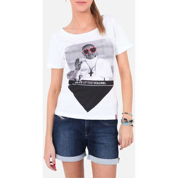 Vêtements Femme T-shirts manches courtes French Kick Tee Shirt Mc Pope Up  Blanc Blanc