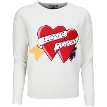Vêtements Femme Pulls Tommy Hilfiger Pull col rond  Bibi Heart crème pour femme Blanc