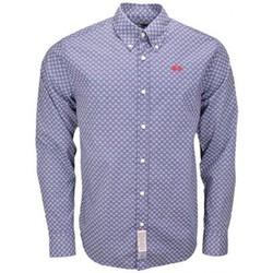 Chemises manches longues La Martina Chemise  Tony bleue à motifs pour homme
