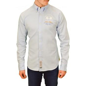 Vêtements Homme Chemises manches longues La Martina Chemise  Eulogio bleu pour homme Bleu