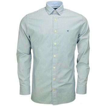 Vêtements Homme Chemises manches longues Hackett Chemise rayée  Shadow bleu et blanche pour homme Bleu
