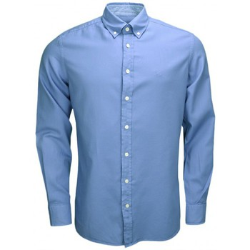 Vêtements Homme Chemises manches longues Hackett Chemise  Oxford bleue pour homme Bleu