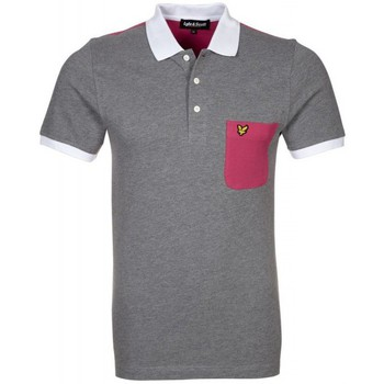 Polos manches courtes Lyle & Scott Polo Lyle and Scott gris poche rose pour homme