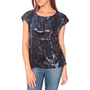 Vêtements Femme T-shirts manches courtes Tcqb Top 23171 paillettes Julie GG Noir/Bleu Noir