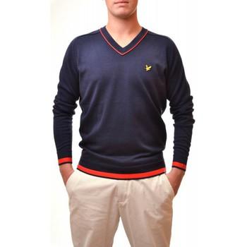 Vêtements Homme Pulls Lyle & Scott Pull Lyle and Scott bleu marine Col V Ligne Red pour homme Bleu marine