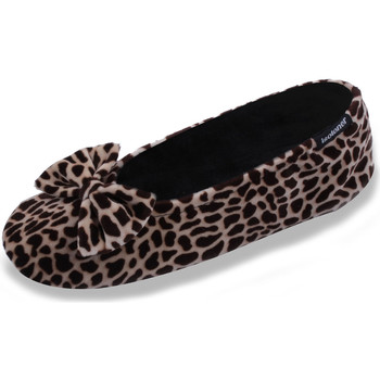 Chaussures Femme Chaussons Isotoner Chaussons FEMME Velours - grand noeud girafe
