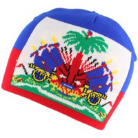 Accessoires textile Bonnets Nyls Création Bonnet Drapeau Haiti Bleu et Rouge Rouge