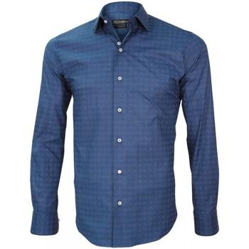 Vêtements Homme Chemises manches longues Emporio Balzani chemise italienne cavour bleu Bleu