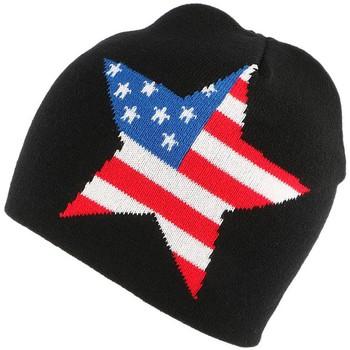 Accessoires textile Bonnets Nyls Création Bonnet Biker Noir étoile Texas Noir