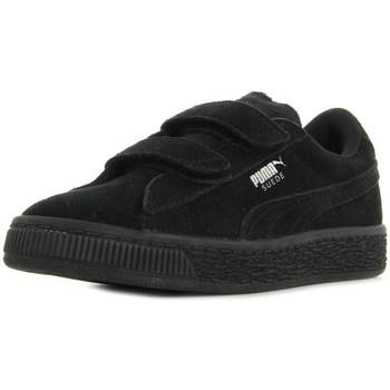 Chaussures Enfant Baskets mode Puma Suede 2 straps PS noir