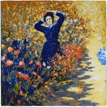 Accessoires textile Femme Echarpes / Etoles / Foulards Silkart Carré de soie - Dame en multicolore
