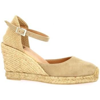 Chaussures Femme Espadrilles Pao Espadrille cuir velours Camel