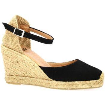 Chaussures Femme Espadrilles Pao Espadrille cuir velours Noir