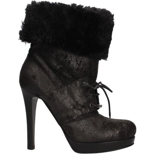 Chaussures Femme Bottines Pin Ko chaussures femme PINKO bottines noir daim fourrure AF906 noir