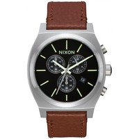 Montres & Bijoux Homme Montre Nixon Montre  Time Teller Chrono Leather - Black / Saddle Noir