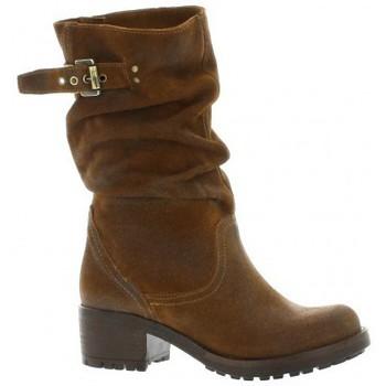 Chaussures Femme Boots Pao Mi-bottes cuir velours Cognac