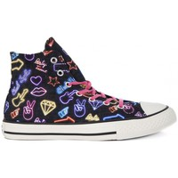 Chaussures Enfant Baskets montantes Converse ALL STAR HI CANVAS PRINT Nero