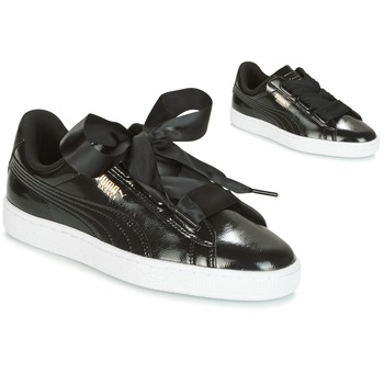 Chaussures Fille Baskets basses Puma BASKET HEART GLAM JR Noir
