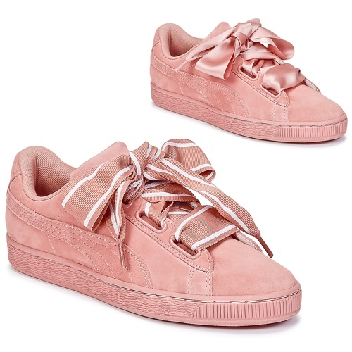 a79aac995b0e5 Chaussures Femme Baskets basses Puma Basket Heart Satin Rose