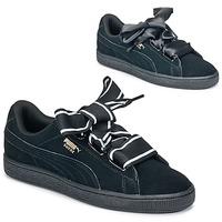 Chaussures Femme Baskets basses Puma Basket Heart Satin Noir
