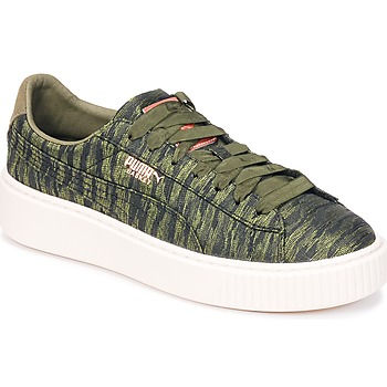 Chaussures Femme Baskets basses Puma Basket Platform Bi Color Kaki