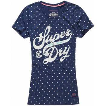 Vêtements Femme T-shirts & Polos Superdry T-shirt  Trade Markd Entry Princeton Blue Bleu Marine