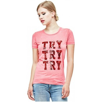 Vêtements Femme T-shirts manches courtes Guess Tee-Shirt Try C/N SS Rouge Rouge