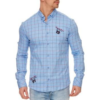 Vêtements Homme Chemises manches longues Tazzio Chemise homme à carreaux Chemise 706 bleu Bleu