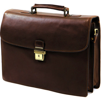Sacs Homme Porte-Documents / Serviettes Gerard Henon Cartable Arizona Cuir de vachette gras 2 soufflets GH 5226 Marron