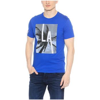 Vêtements Homme T-shirts manches courtes Guess T-Shirt Homme Look Through Bleu Bleu