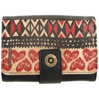 Sacs Femme Pochettes / Sacoches Desigual Portefeuille Noir et Rouge MONE LENGUETA 61Y53C4 Multicolor