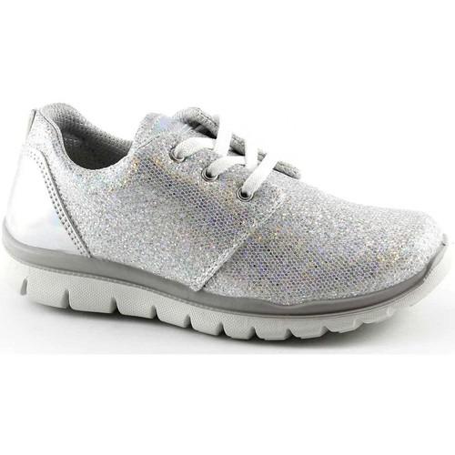 Chaussures Enfant Baskets basses Primigi 75858 chaussures fille baskets lacets bas paillettes course Bianco