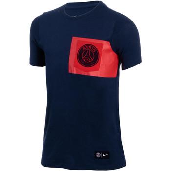 Vêtements Garçon T-shirts manches courtes Nike Tee-shirt  Junior PSG Crest - 874730-410 Bleu