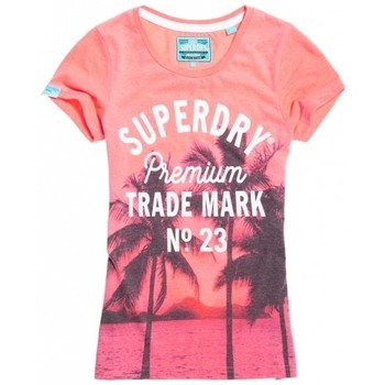 Vêtements Femme T-shirts manches courtes Superdry T-shirt  Photographic Entry Pink Neon Marl Neon Pink