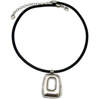Montres & Bijoux Femme Colliers / Sautoirs Lili La Pie Collier cuir motif rectangle HUGGY'S Argent