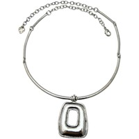 Montres & Bijoux Femme Colliers / Sautoirs Lili La Pie Collier torque motif rectangle HUGGY'S Argent
