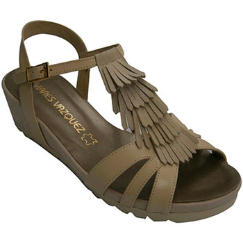 Chaussures Femme Sandales et Nu-pieds Pomares Vazquez Strappy femme sandale avec garniture de beige