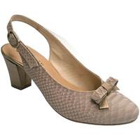 Chaussures Femme Escarpins Roldán talon Peep combiné avec nubuck  en beige