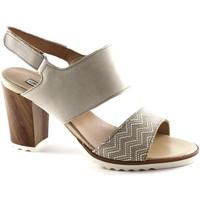 Chaussures Femme Sandales et Nu-pieds Grunland Grünland LETA SA1545 beige sandales femmes cuir sangles talon la Beige