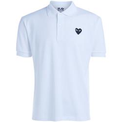 Vêtements Femme T-shirts & Polos Comme Des Garcons Polo  blanche à double cœur noir Blanc