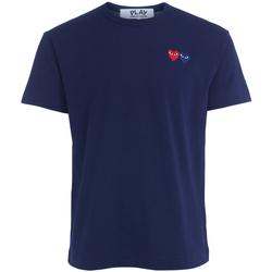 Vêtements Homme T-shirts & Polos Comme Des Garcons T-Shirt  bleu avec double cœur Bleu