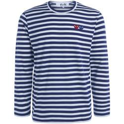 Vêtements Homme T-shirts manches longues Comme Des Garcons Maille homme  à lignes à double cœur Bleu