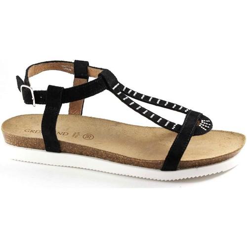 Chaussures Femme Sandales et Nu-pieds Grunland Grünland JEGU SB0685 femme noire sandale strass boucle Nero