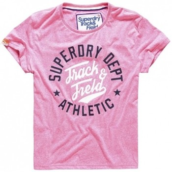 Vêtements Femme T-shirts & Polos Superdry T-shirt  Trackster Pink Sorbet Snowy Neon Pink