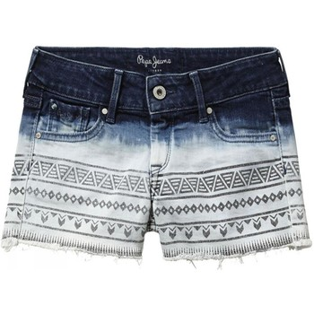 Vêtements Fille Shorts / Bermudas Pepe jeans - Short toile denim tie and dye bleu ado fille Bleu